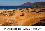 Aerial View Of Buggy Car On The ...