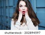 portrait of a beautiful... | Shutterstock . vector #202894597
