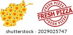 scratched fresh pizza stamp ...   Shutterstock .eps vector #2029025747