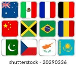 national flags square icon set. ... | Shutterstock .eps vector #20290336