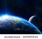 Earth Usa  Horizon And Moon   ...