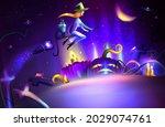 halloween night vector... | Shutterstock .eps vector #2029074761