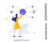 woman pushing gearwheel button... | Shutterstock .eps vector #2029090994