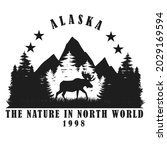 Alaska design ,silhouette design ,vintage style .for logo and other uses