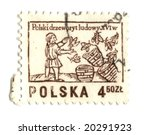 Old polish stamp with bees - stock photo