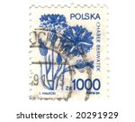 Old polish stamp with flower - stock photo