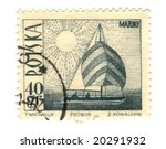 Old polish stamp with boat - stock photo