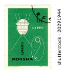 Old polish stamp with a satelite - stock photo