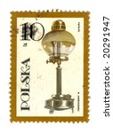 Old polish stamp with a lamp - stock photo