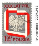 Old polish stamp with eagle - stock photo