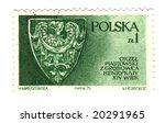 Old polish stamp with eagle shield - stock photo