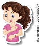 sticker a girl cartoon... | Shutterstock .eps vector #2029200107