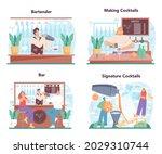 bartender concept set. barman...   Shutterstock .eps vector #2029310744