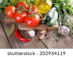 fresh vegetables with herbs and ... | Shutterstock . vector #202934119