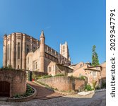 Small photo of View at the Cathedral of Saint Cecilia in Albi - France