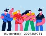 people keeping social distance... | Shutterstock .eps vector #2029369751