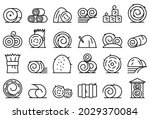 Bale Of Hay Icons Set Outline...