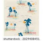 hand drawn palm island ... | Shutterstock .eps vector #2029408451