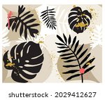 brush paint color with palm...   Shutterstock .eps vector #2029412627