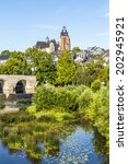 old lahn bridge and view to... | Shutterstock . vector #202945921