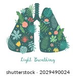 lungs care. light breathing... | Shutterstock .eps vector #2029490024