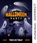 halloween ghost party. night...   Shutterstock .eps vector #2029490177