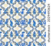 chinoiserie style art with...   Shutterstock .eps vector #2029493624