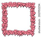 pink hearts frame | Shutterstock .eps vector #202952254