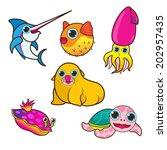 sea animals set cute cartoon... | Shutterstock .eps vector #202957435