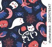 seamless pattern with pumpkins  ...   Shutterstock .eps vector #2029578347