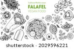 falafel cooking and ingredients ...   Shutterstock .eps vector #2029596221