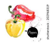 red and yellow peppers. hand... | Shutterstock .eps vector #202968319