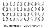 laurel wreath award or heraldry ... | Shutterstock .eps vector #2029704044