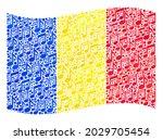 mosaic waving romania flag... | Shutterstock .eps vector #2029705454