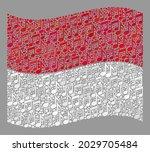 mosaic waving monaco flag... | Shutterstock .eps vector #2029705484