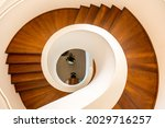 A Top View Of A Wooden Spiral...