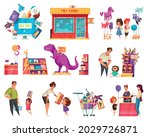 toys shop cartoon set of adult... | Shutterstock .eps vector #2029726871
