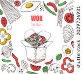 wok box sketch  ingredients for ...   Shutterstock .eps vector #2029726931