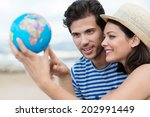 excited young couple planning... | Shutterstock . vector #202991449
