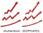 set of red arrow. 3d up... | Shutterstock .eps vector #2029916921