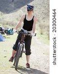 girl in rap bandanna by sport...   Shutterstock . vector #20300464