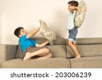 children fighting together with ... | Shutterstock . vector #203006239