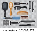 hairbrush and combs realistic...   Shutterstock .eps vector #2030071277