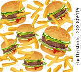 Fast Food Seamless Pattern Wit...