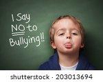 little boy standing up for... | Shutterstock . vector #203013694