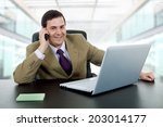 businessman working with is... | Shutterstock . vector #203014177