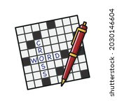crossword puzzle and ball point ... | Shutterstock .eps vector #2030146604