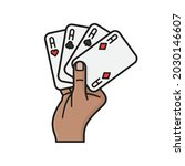 hand holding four aces playing... | Shutterstock .eps vector #2030146607