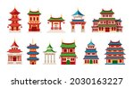 chinese temples and houses at... | Shutterstock .eps vector #2030163227