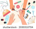 hands of nail technician and... | Shutterstock .eps vector #2030310704